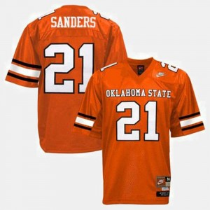 #21 Barry Sanders Oklahoma State Cowboys and Cowgirls College Football For Kids Jersey - Orange