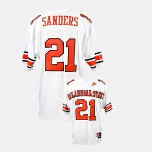 #21 Barry Sanders Oklahoma State Cowboys and Cowgirls College Football Men Jersey - White