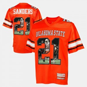 #21 Barry Sanders Oklahoma State Cowboys and Cowgirls Player Pictorial Men Jersey - Orange