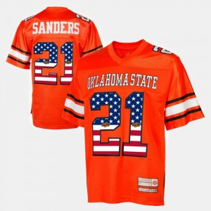 #21 Barry Sanders Oklahoma State Cowboys and Cowgirls Throwback Men Jersey - Orange