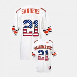 #21 Barry Sanders Oklahoma State Cowboys and Cowgirls Mens Throwback Jersey - White