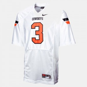 #3 Brandon Weeden Oklahoma State Cowboys and Cowgirls For Men's College Football Jersey - White