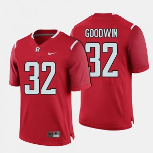 #32 Justin Goodwin Rutgers Scarlet Knights For Men College Football Jersey - Red