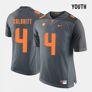 #4 Britton Colquitt Tennessee Volunteers Youth College Football Jersey - Grey