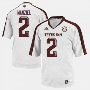 #2 Johnny Manziel Texas A&M Aggies College Football For Men Jersey - White