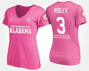 #3 Calvin Ridley Alabama Crimson Tide For Women With Message T-Shirt - Pink