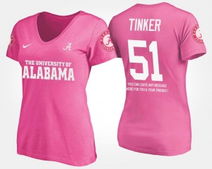 #51 Carson Tinker Alabama Crimson Tide Ladies With Message T-Shirt - Pink