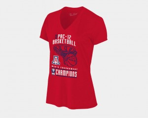 Arizona Wildcats For Women Basketball Conference Tournament V-Neck 2018 Pac-12 Champions Locker Room T-Shirt - Red