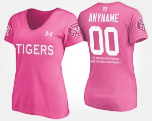 #00 Auburn Tigers Women With Message Customized T-Shirts - Pink
