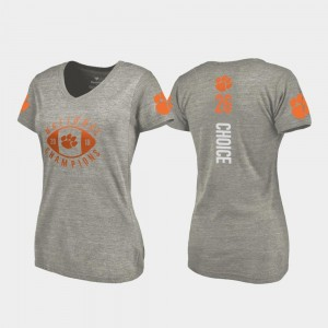 #26 Adam Choice Clemson Tigers 2018 National Champions For Women's College Football Playoff V-Neck T-Shirt - Gray