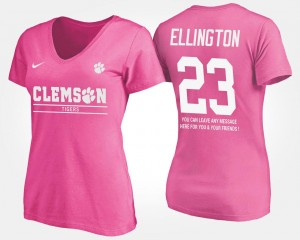 #23 Andre Ellington Clemson Tigers For Women's With Message T-Shirt - Pink
