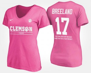 #17 Bashaud Breeland Clemson Tigers With Message Ladies T-Shirt - Pink
