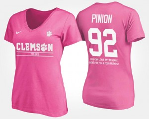 #92 Bradley Pinion Clemson Tigers For Women With Message T-Shirt - Pink
