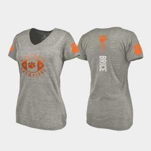 #7 Chase Brice Clemson Tigers College Football Playoff V-Neck 2018 National Champions For Women's T-Shirt - Gray