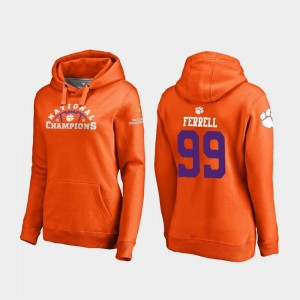 #99 Clelin Ferrell Clemson Tigers 2018 National Champions College Football Playoff Pylon For Women Hoodie - Orange