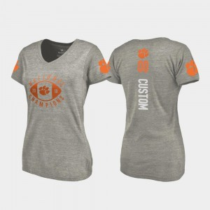 #00 Clemson Tigers College Football Playoff V-Neck 2018 National Champions For Women's Custom T-Shirt - Gray