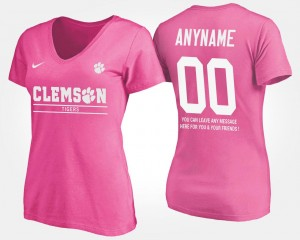 #00 Clemson Tigers Ladies With Message Customized T-Shirts - Pink