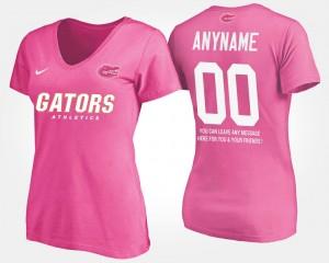 #00 Florida Gators For Women With Message Custom T-Shirt - Pink