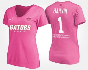 #1 Percy Harvin Florida Gators For Women With Message T-Shirt - Pink