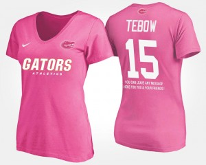 #15 Tim Tebow Florida Gators With Message For Women T-Shirt - Pink