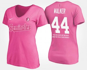 #44 DeMarcus Walker Florida State Seminoles For Women's With Message T-Shirt - Pink