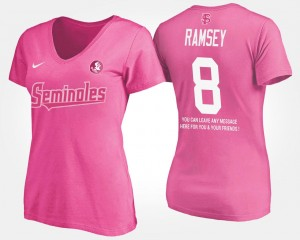 #8 Jalen Ramsey Florida State Seminoles For Women's With Message T-Shirt - Pink