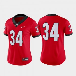 #34 Georgia Bulldogs College Football Game For Women Jersey - Red