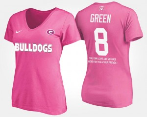 #8 A.J. Green Georgia Bulldogs For Women's With Message T-Shirt - Pink