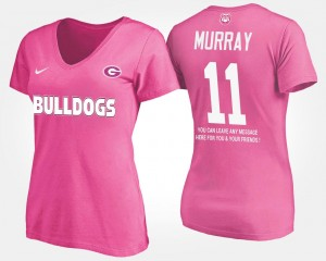 #11 Aaron Murray Georgia Bulldogs Ladies With Message T-Shirt - Pink