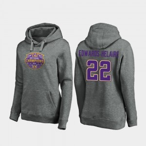 #22 Clyde Edwards-Helaire LSU Tigers For Women 2019 National Champions College Football Playoff Visor Hoodie - Heather Gray