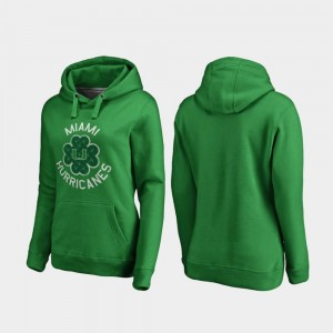 Miami Hurricanes Luck Tradition St. Patrick's Day Womens Hoodie - Kelly Green