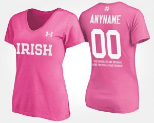 #00 Notre Dame Fighting Irish Women With Message Customized T-Shirts - Pink