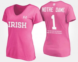 #1 Notre Dame Fighting Irish For Women's No.1 Short Sleeve With Message T-Shirt - Pink