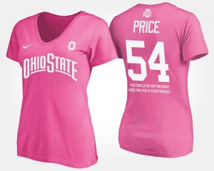 #54 Billy Price Ohio State Buckeyes With Message Womens T-Shirt - Pink