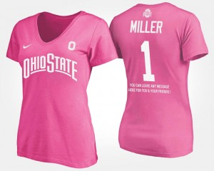 #1 Braxton Miller Ohio State Buckeyes For Women's With Message T-Shirt - Pink