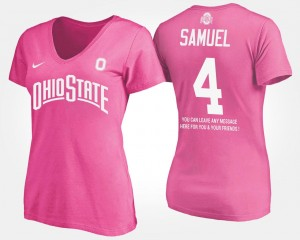 #4 Curtis Samuel Ohio State Buckeyes Ladies With Message T-Shirt - Pink