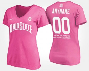 #00 Ohio State Buckeyes With Message Ladies Customized T-Shirts - Pink