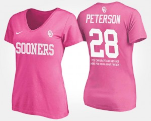 #28 Adrian Peterson Oklahoma Sooners Women's With Message T-Shirt - Pink