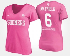 #6 Baker Mayfield Oklahoma Sooners Womens With Message T-Shirt - Pink