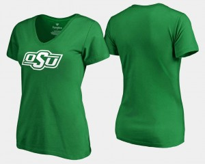 Oklahoma State Cowboys and Cowgirls St. Patrick's Day Ladies White Logo T-Shirt - Kelly Green