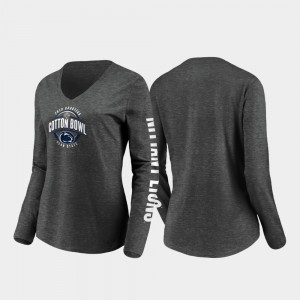 Penn State Nittany Lions Stiff Arm Long Sleeve V-Neck 2019 Cotton Bowl Bound Womens T-Shirt - Heather Charcoal