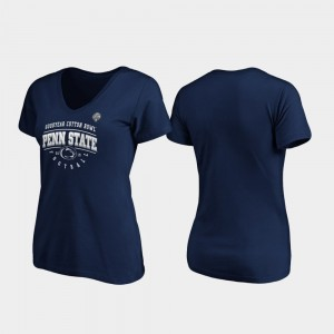 Penn State Nittany Lions Tackle V-Neck 2019 Cotton Bowl Bound For Women T-Shirt - Navy