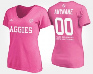 #00 Texas A&M Aggies For Women With Message Custom T-Shirts - Pink
