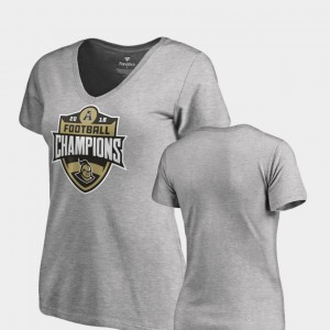 UCF Knights 2018 AAC Football Champions For Women's V-Neck T-Shirt - Heather Gray