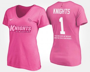 #1 UCF Knights For Women's No.1 Short Sleeve With Message T-Shirt - Pink