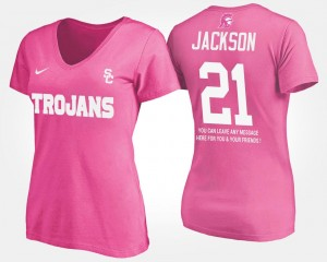 #21 Adoree' Jackson USC Trojans For Women's With Message T-Shirt - Pink
