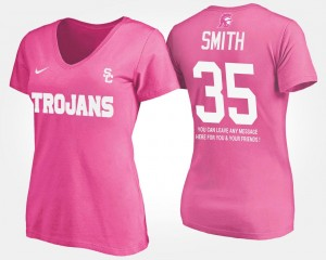 #35 Cameron Smith USC Trojans With Message For Women's T-Shirt - Pink