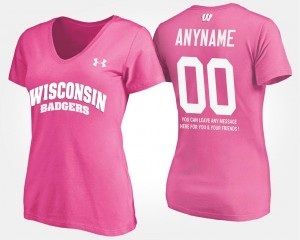 #00 Wisconsin Badgers Women's With Message Custom T-Shirt - Pink