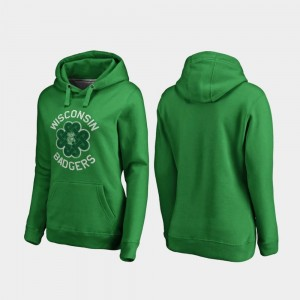 Wisconsin Badgers For Women Luck Tradition St. Patrick's Day Hoodie - Kelly Green