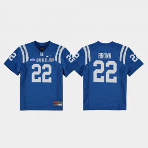#22 Brittain Brown Duke Blue Devils For Kids 2018 Independence Bowl College Football Game Jersey - Royal